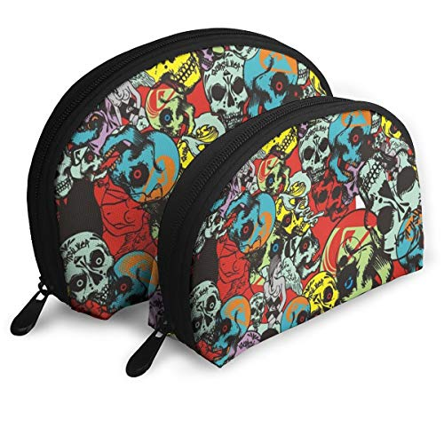 HJGeO Sugar Skull Candy Cosmetic Bags,Women Travel Make Up Cosmetic Pouch Bag Clutch Handbag Casual Purse]()