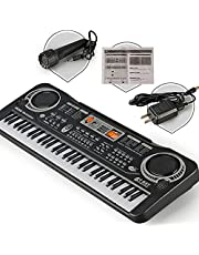 $35 » Kids Piano Keyboard 61 Keys Electronic Piano Portable Karaoke Music Keyboard With Microphone 16 Tones Drum pads Recording Play Built-in Speakers Educational Toys for Beginners Girls Boys Children