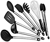 #7: Kitchen Utensil set - 8 Piece Cooking Utensils for nonstick cookware -Made Of Silicone and Stainless Steel -Includes Spoon, Egg Whisk, Serving Tong, Spatula Tools, Pasta Server, Ladle, Strainer