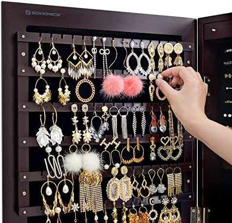 clothing, shoes, jewelry, shoe, jewelry, watch accessories, jewelry accessories, jewelry boxes, organizers,  jewelry armoires 4 on sale SONGMICS 6 LEDs Mirror Jewelry Cabinet Armoire, Lockable deals
