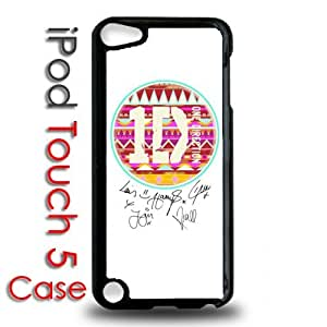 IPod 5 Touch Black Plastic Case - One Direction Tribal Pattern Autographs