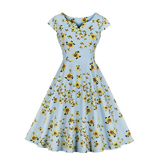Aunimeifly Ladies Sweet Cute A Line Sundress V-Neck Short Sleeve Pleated Sunflower Printed Knee Dress Green