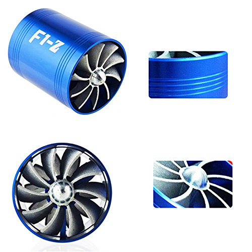 E93+F1-Z Double Supercharger Universal Turbine Turb Air Intake Fuel Gas Saver Fan Blue/Black (Supercharger Universal)