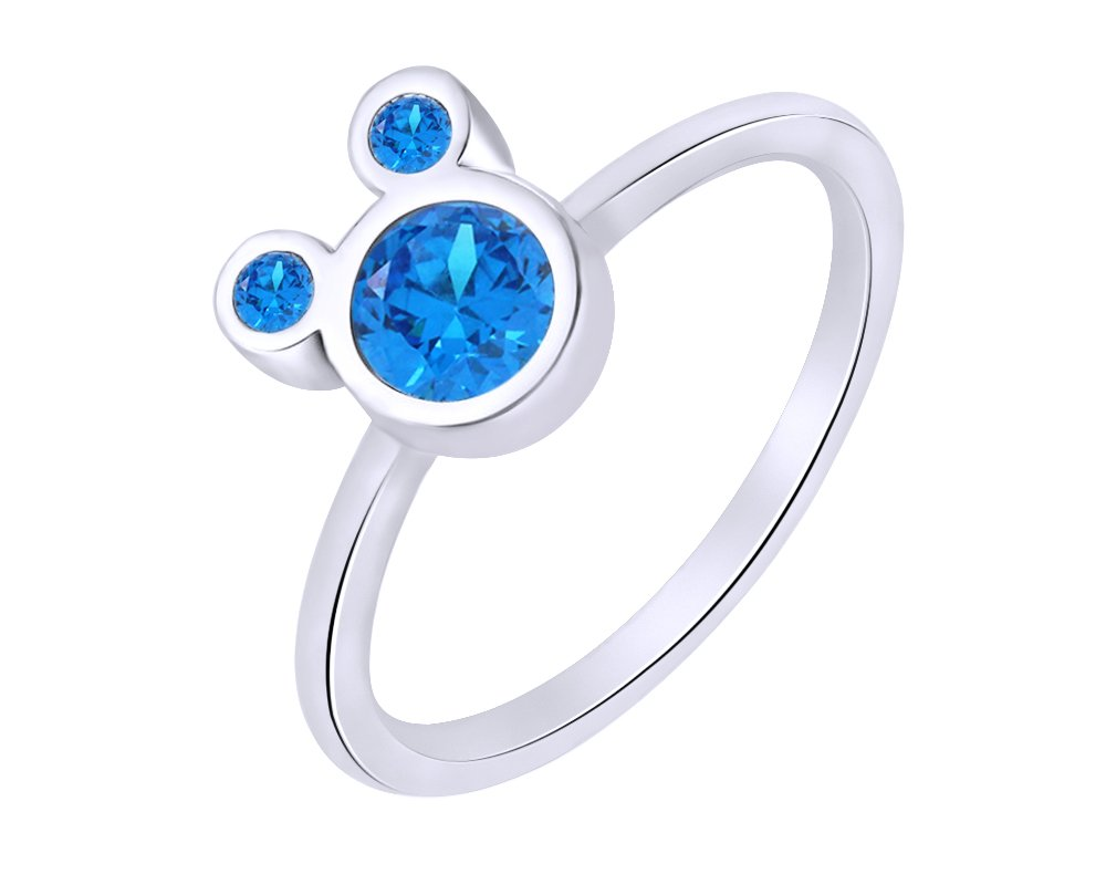 wishrocks 925 Sterling Silver Simulated Blue Topaz Mickey Mouse Ring Party Jewelry For Women & Girl