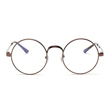 e8c9380cfe56 RazMaz Round Retro Men-women Metal Frame Eyeglasses Korean Clear Lens Spectacles  Glasses (Clear Copper)  Amazon.in  Clothing   Accessories