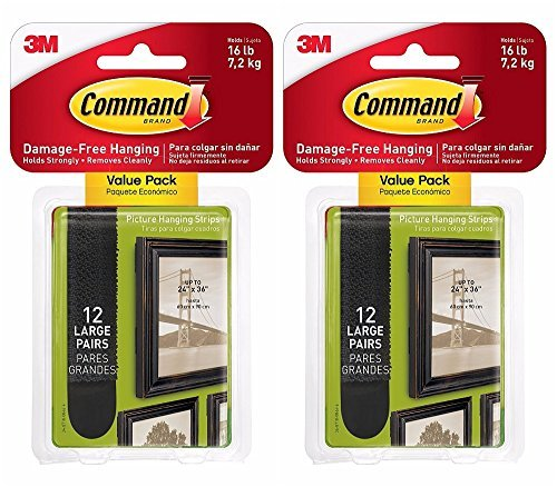 Command Large Picture-Hanging Strips, Black, 24-Sets by Command (Image #1)