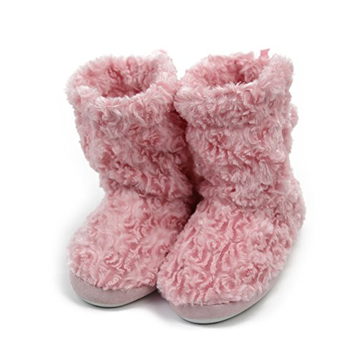 (Home Slipper Women's Faux Fur Soft Plush Cute Fringes Indoor House Room Slipper Boot Booties Lined with Pom Poms,US 9/10,Pink)