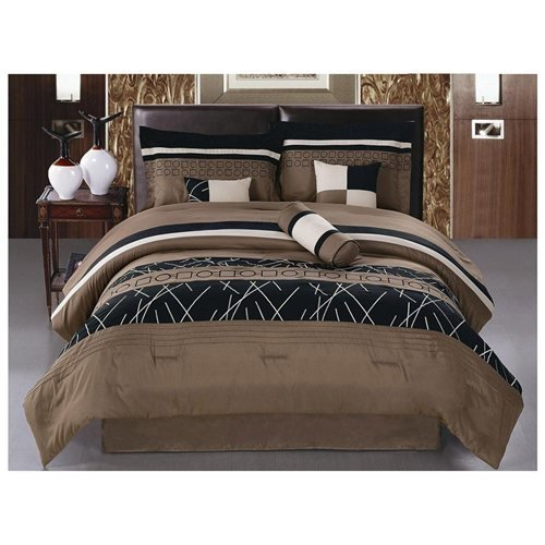 (JBFF Modern Embroidery Comforter Set Bed in a Bag, Black/Brown/Beige(King))