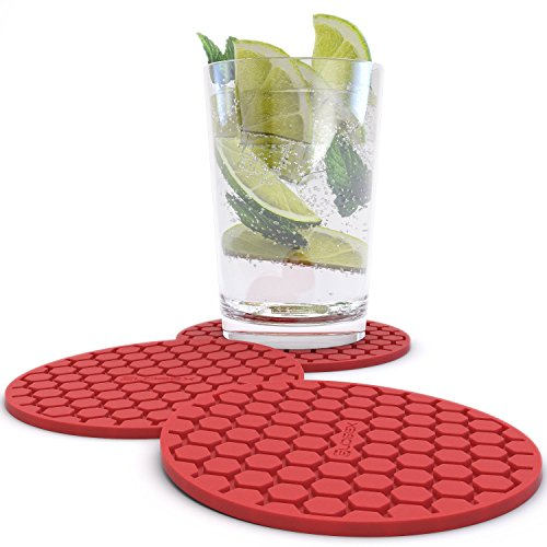 Glogex Red Silicone Drink Coaster Set of 8, Prevents Furniture and Tabletop Damages, Absorbs Spills and Condensation