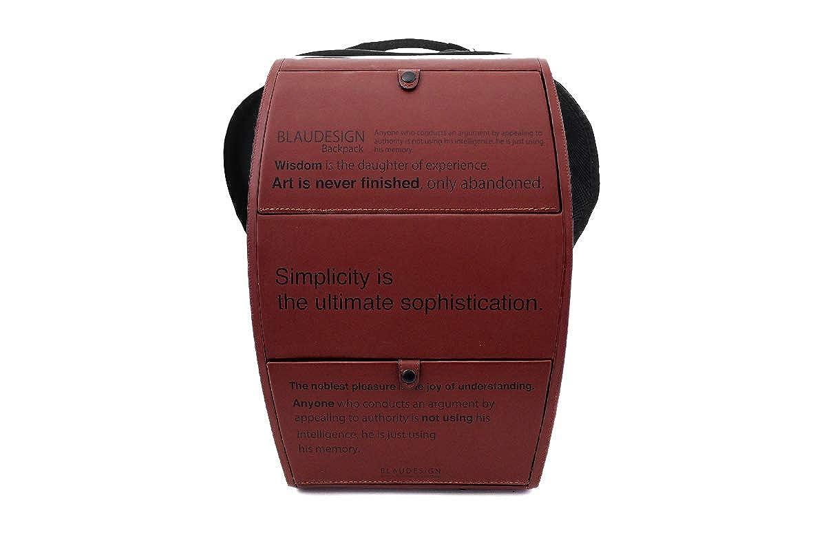 【ブラウデザイン】BLAUDESIGN Backpack ブラウンプリント 英字 ハードシェル バックパック イタリアンレザー 革張り メンズ リュックサック 通勤リュック ビジネスリュック   B07L2NHPNZ
