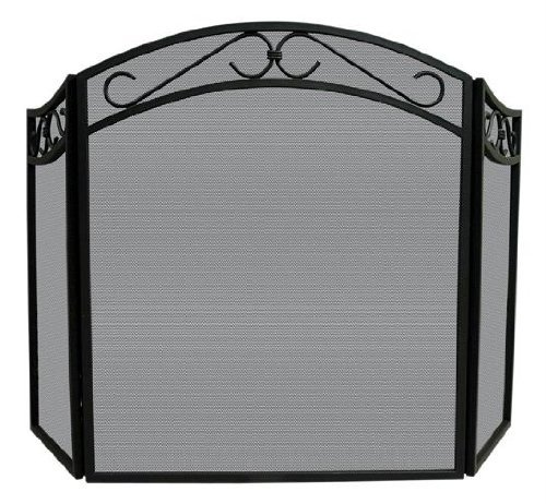 Iron Scroll Top - Uniflame 3-Fold Black Wrought Iron Arch Top Screen with Scrolls, 31 inches,