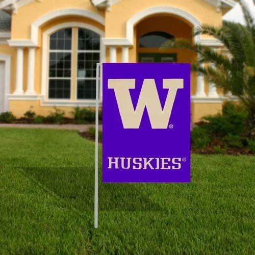 NCAA Washington Huskies Purple Applique Garden Flag