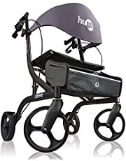 Drive Medical Hugo Explore Side-Fold Rollator Walker with Seat, Pearl 1 count