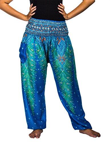 Lofbaz Women's Peacock Print Smocked Waist Harem Pants Light Blue S