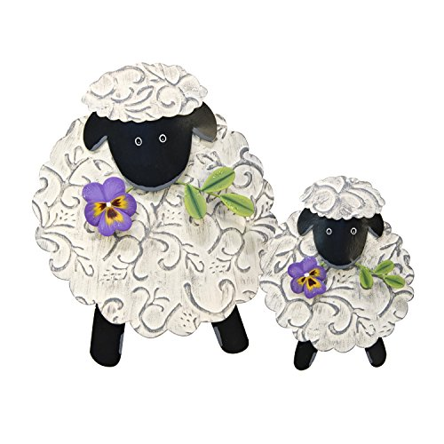 The Round Top Collection Embossed Lambs. Set of 2/Metal