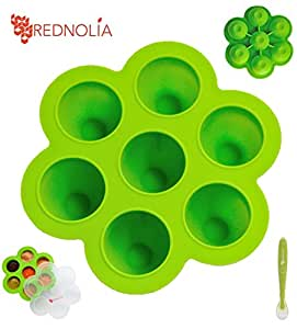 UOKOO Baby Food Freezer Tray with Spoon | Best Multiportion Silicone Food Storage Container for Homemade Baby Food Purees and BreastMilk | 7 x 2.5 OZ | BPA-FREE | Green