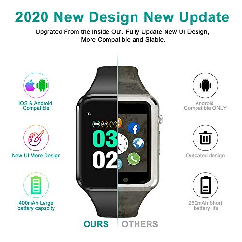 Smart Watch Compatible iOS iPhone Android Samsung,WJPILIS Bluetooth Smart Watch Touchscreen Fitness Activity Tracker with Camera Sleep Monitor Step Counter SIM SD Card Slot for Women Men Kids (Black)