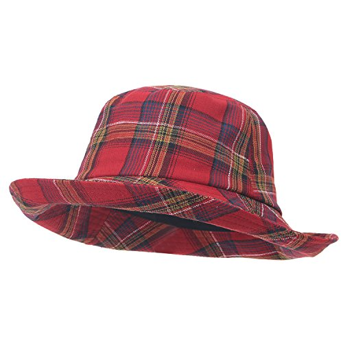 ililily Checkered Pattern Cotton Basic Boonie Hat Casual Stitched Bucket Hat, Red Plaid (Fedora Red Plaid)