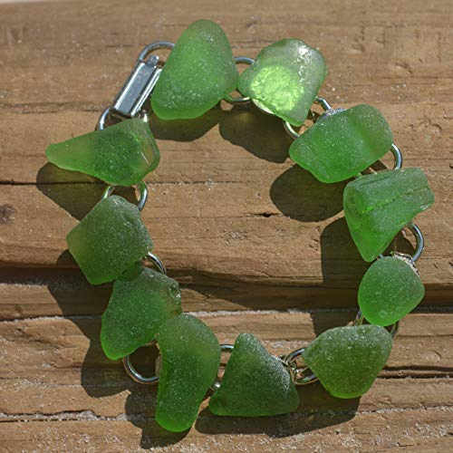 GENUINE SEA GLASS Anklet Sterling Silver Flawless Moss Green Gem Real Surf Tumbled Natural Beach Seaglass Ankle Bracelet Jewelry  A 173d