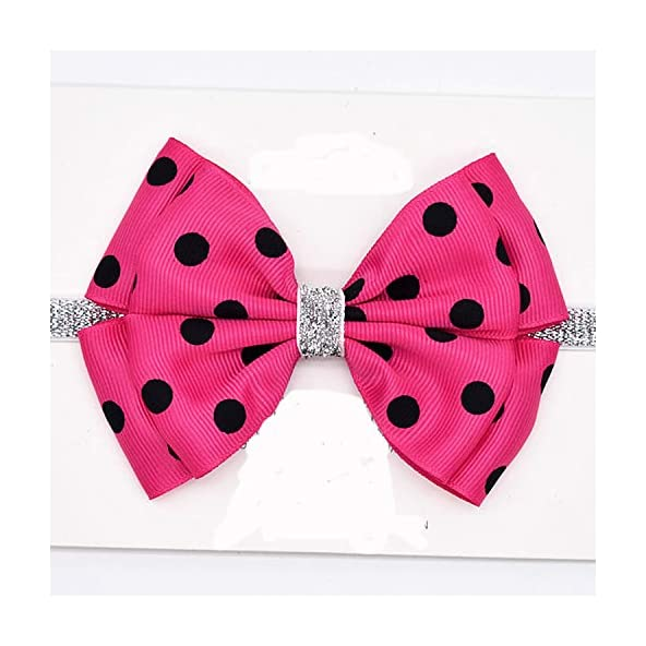 Bow Dot Printed Hair Band for Infant Baby Elastic Headband Photography Prop Pink