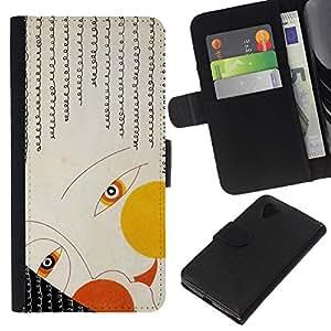 KLONGSHOP // Tirón de la caja Cartera de cuero con ranuras para tarjetas - Deco Cara Ojos Chica Fashion Art painiting - LG Nexus 5 D820 D821 //