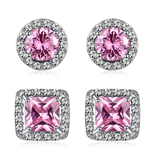 Quinlivan Duo 2pairs Cubic Zirconia Stud Earrings 10mm, Round Square Cut Rhinestone Halo Earrings Hypoallergenic for Women, Girls (pink)