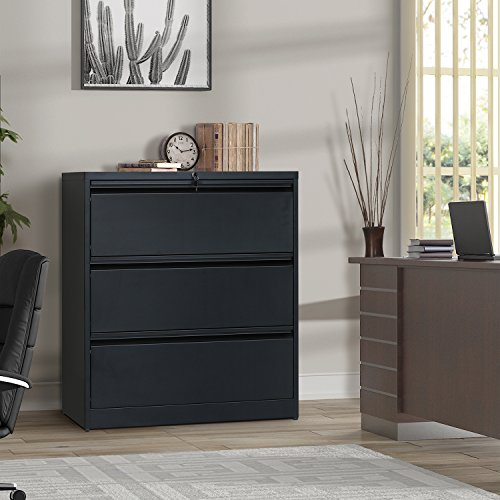 (ModernLuxe Heavy-Duty Lateral File Cabinet (Black,)