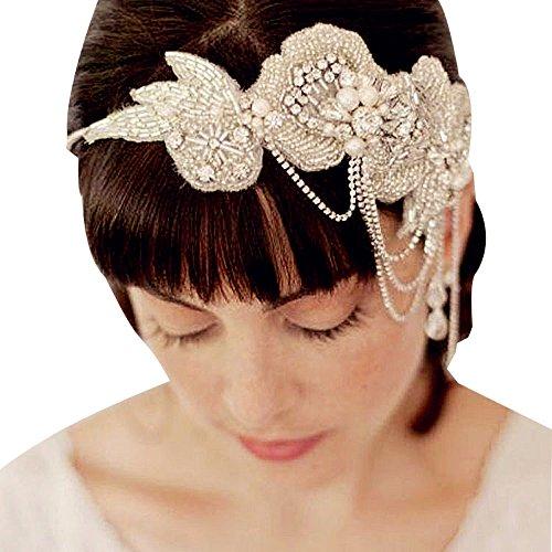 (Edith qi Retro Art Deco 1920s Rhinestone Flapper Headband for Beach Wedding Tiara Party Princess Headpiece)