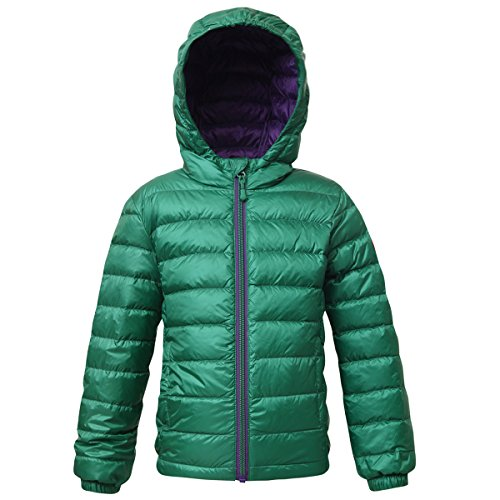 Reversible Nylon Sweater Jacket - Rokka&Rolla Boys' Ultra Lightweight Hooded Packable Puffer Down Jacket Verdant Green