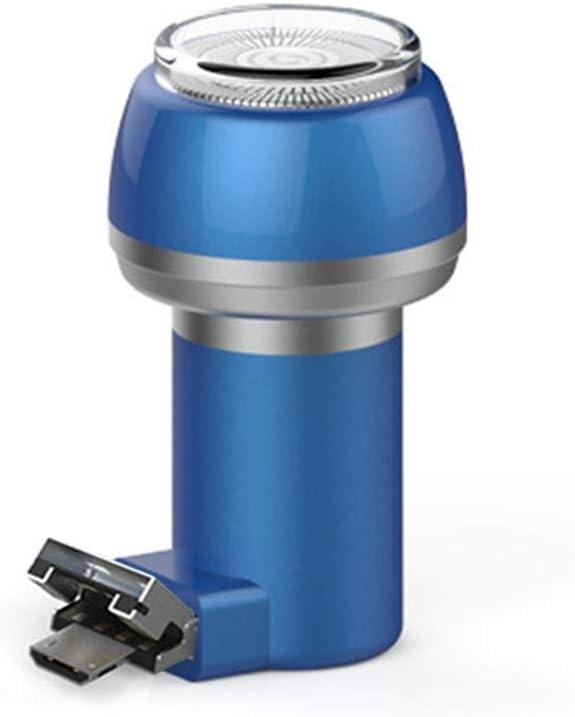 Baomasir - Maquinilla de afeitar 2 en 1 para hombre, afeitadora eléctrica magnética, portátil, tipo C, para teléfono/banco de energía, resistente al agua, carga duradera (USB + Micro, azul)