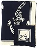 DARZZI Rope and Anchor Throw, Navy/Natural