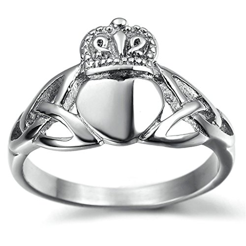 Stainless Steel Ring for Men, Heart Crown Ring Gothic Silver Band 6MM Size 11 - Finger Lakes Outlet