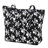 Silver Skull Motif Tote Bag Purse Gothic Fabric Totebag