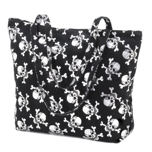 - Silver Skull Motif Tote Bag Purse Gothic Fabric Totebag