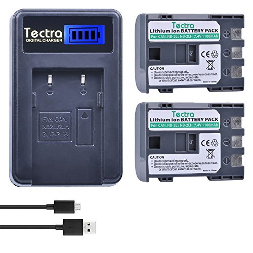 Tectra 2-Pack NB-2L / NB-2LH Battery + Smart LCD Display USB Charger for Canon PowerShot G7 G9 S30 S40 S45 S50 S60 S70 S80 DC410 DC420 VIXIA HF R10 HF R100 HF R11 EOS 350D 400D Digital Rebel XT XTi ()