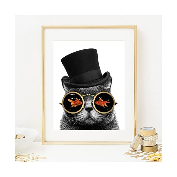 Eleville 8X10 Steampunk Cat Real Gold Foil Art Print (Unframed) Funny Artwork Funky Prints Wall Art Home Decor Motivational Poster Holiday Birthday Wedding Christmas Gift WG123 5