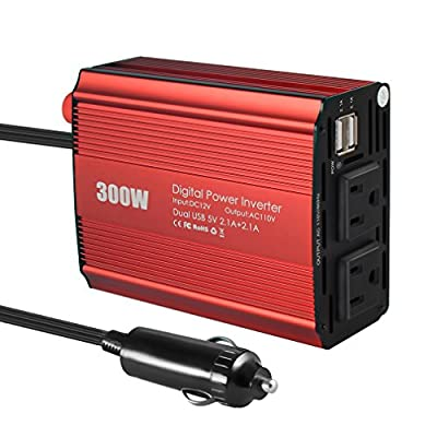 Power Inverter, VANZAVANZU DC 12V to 110V AC Car Inverter Outlets with Dual USB Car Charger Adapter