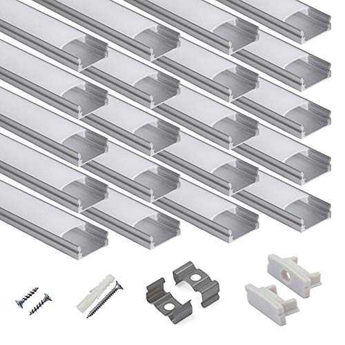 hunhun 20-Pack 3.3ft/1Meter U Shape LED Aluminum Channel System with Milky Cover, End Caps and Mounting Clips, Aluminum Profile for LED Strip Light Installations, Very Easy Installation (Clip Strip Floor)