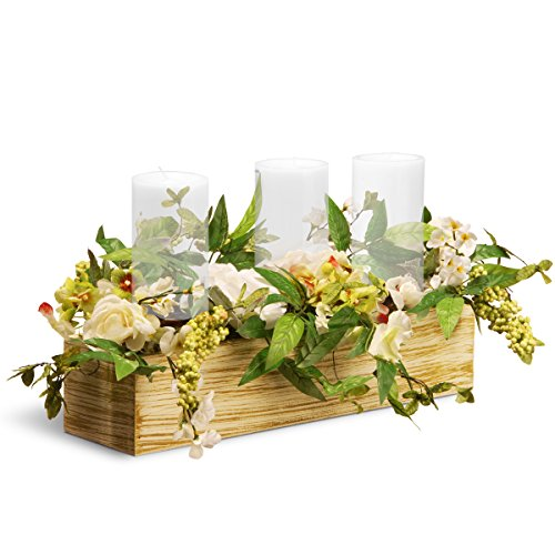 National Tree 22 Inch Spring 3 Candleholder Wood Box with Mixed Flowers and Berries (Floral Wood Candle Holder)
