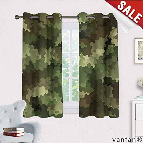 Big datastore Professional Custom Curtain,Camo,Frosted Glass Effect Hexagonal Abstract Being Invisible Woodland Print,2 Panels with Grommet Top,Green Pale Green and Brown,W55 Xl45