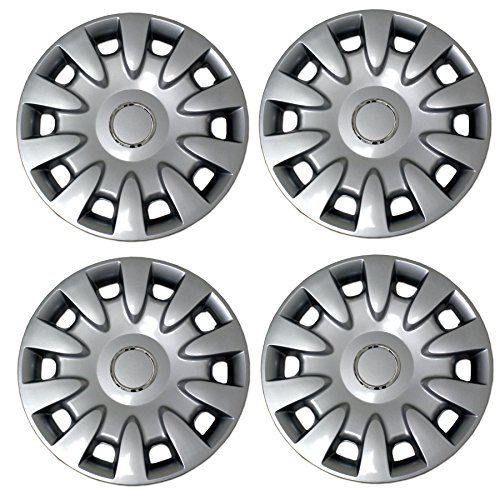 (Tuningpros WC3-15-5068-S - Pack of 4 Hubcaps - 15-Inches Style 5068 Snap-On (Pop-On) Type Metallic Silver Wheel Covers Hub-caps)