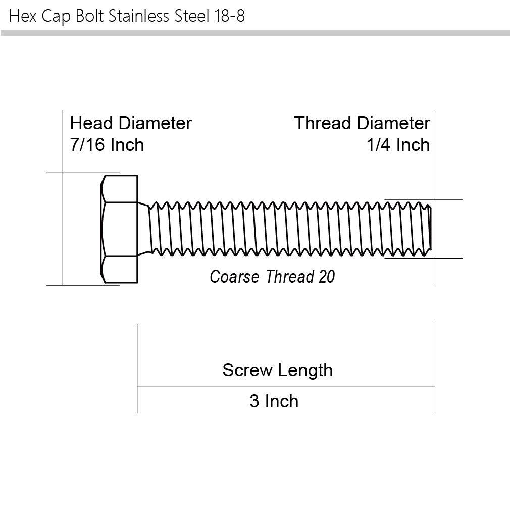 External Hex Drive 1//4-20 x 1-3//4 Hex Head Cap Screw Bolts Stainless Steel 18-8 Full Thread 25 PCS 304