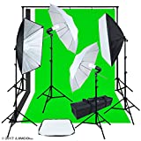 LINCO Lincostore Photo Video Studio Light Kit - Studio Background Support (Green Black White), Muslin Backdrops, Umbrella, Softbox, Lighting Diffuser AM163