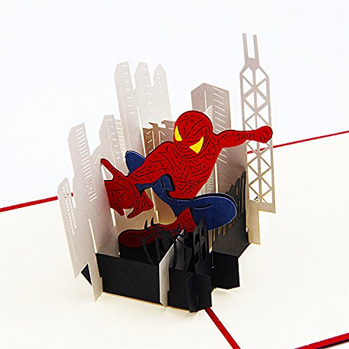 (Jerry & Maggie - Pop Up Greeting Card - Spiderman Card 3D Paper Greeting Thank You Card Handmade Anime Superhero Halloween Birthday Thanksgiving For Kids Men)