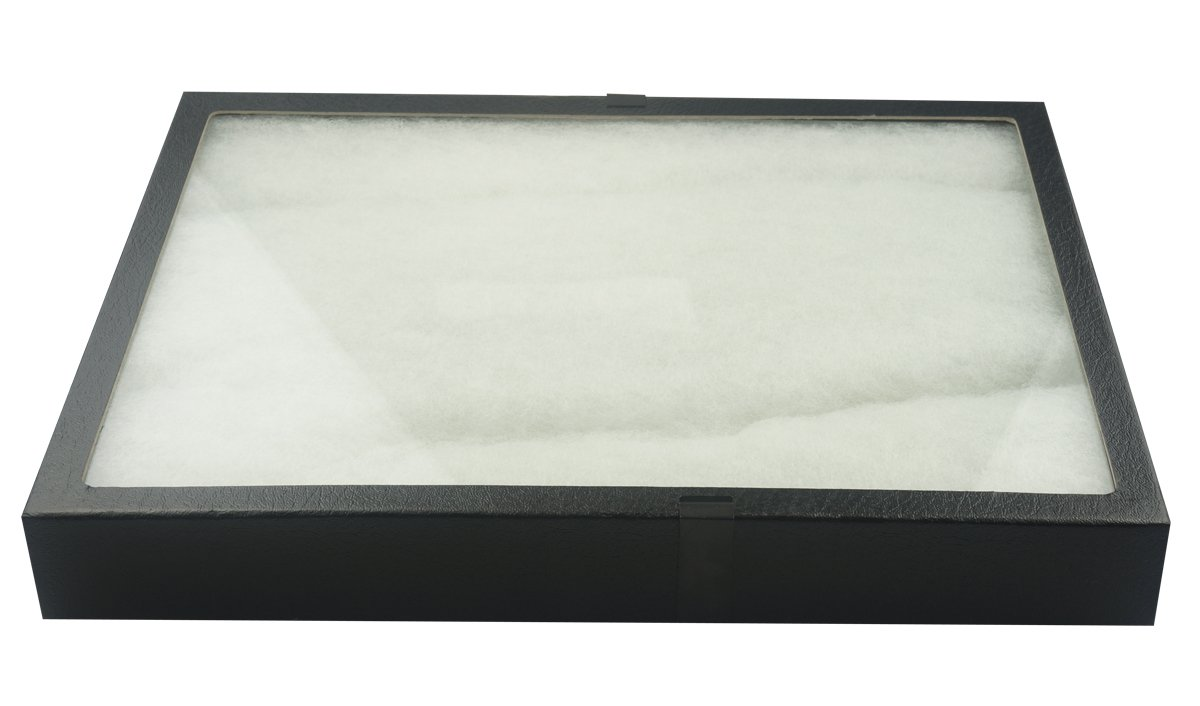 SE JT9213 Glass Top Display Box with Metal Clips, 16