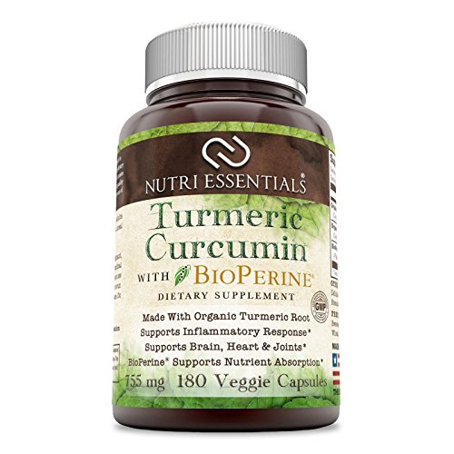 Nutri Essentials Organic Turmeric Curcumin With Bioperine 755 Mg 180 Organic Veggie Capsules – Supports Inflammatory Response – Supports Brain, Heart & Joints For Sale