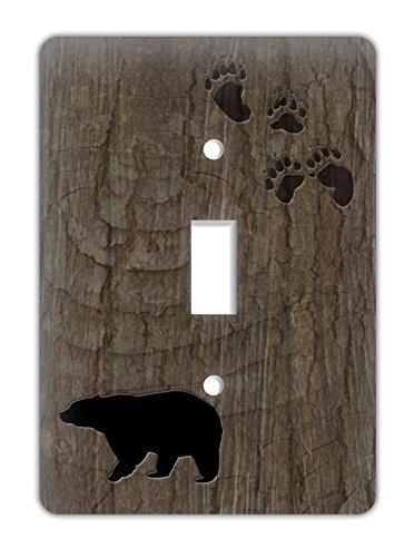 (Rustic Lodge Decorative Single Lightswitch Cover, Bear with tree bark)