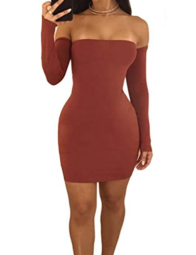 9d3c674b87a Lichene Women's Sexy Off Shoulder Backless Lace Up Club Party Bodycon Mini  Dress at Amazon Women's Clothing store: