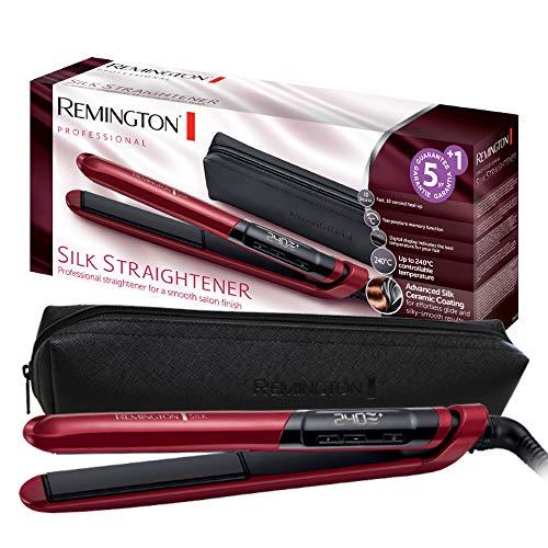 Remington S9600 Silk – Plancha de Pelo, Cerámica, Digital, Placas Flotantes Extralargas, Rojo, Resultados Profesionales…