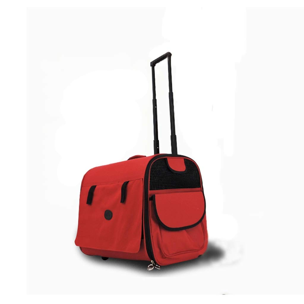 Red AIXIAO Pet Trolley Case Large Cat Dog Bag Pet Shoulder Tote Pet Outing Trolley Box Dog Backpack (color   Red)
